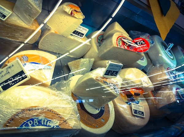 Cheese in Greek supermarket